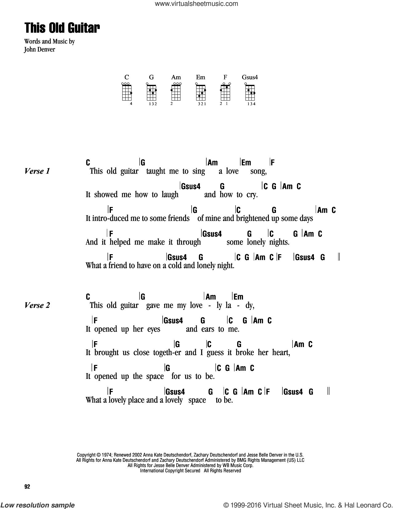 Denver This Old Guitar Sheet Music For Ukulele Chords Pdf