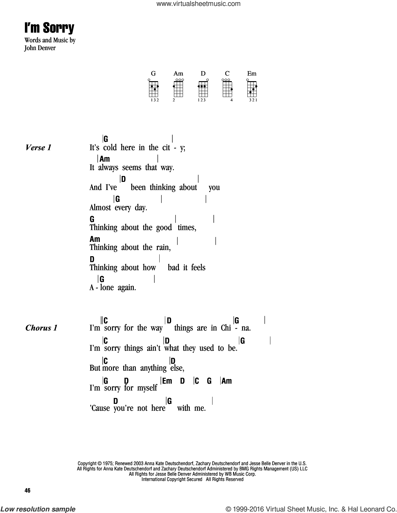 I'm Sorry sheet music for ukulele (chords) by John Denver, intermediate skill level