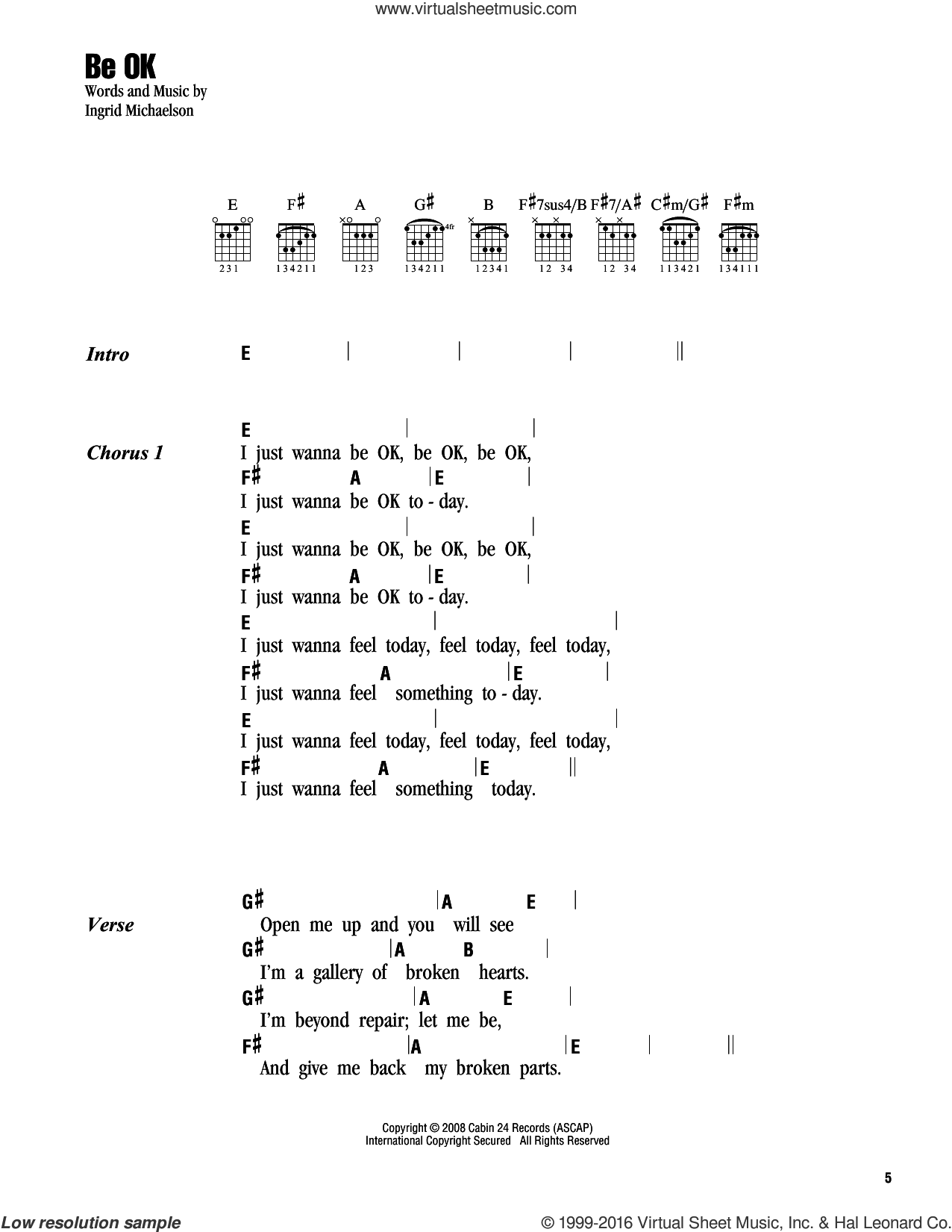 Be OK sheet music for guitar (chords) by Ingrid Michaelson. Score Image Preview.