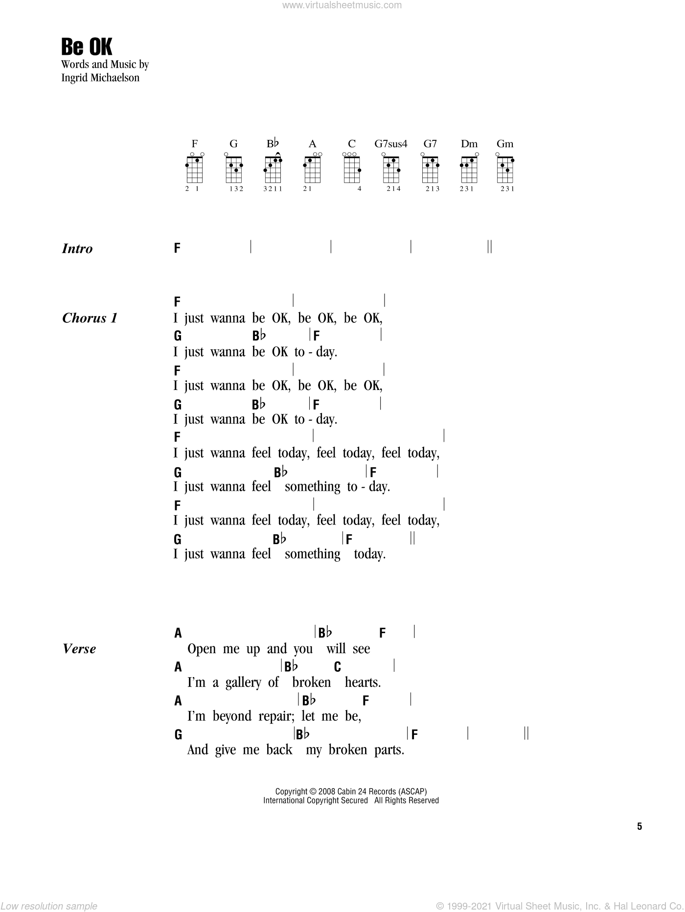 Michaelson Be Ok Sheet Music For Ukulele Chords Pdf