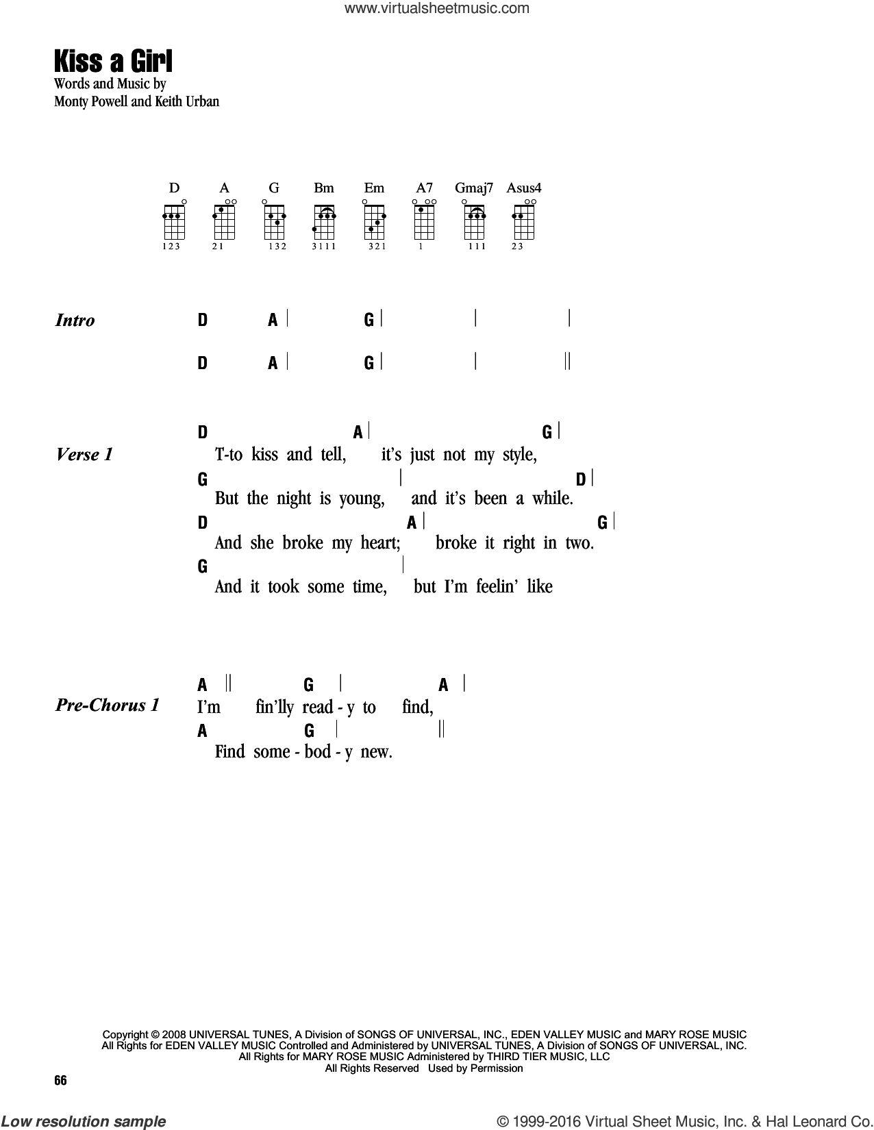 Kiss A Girl sheet music for ukulele (chords) by Keith Urban and Monty Powell. Score Image Preview.