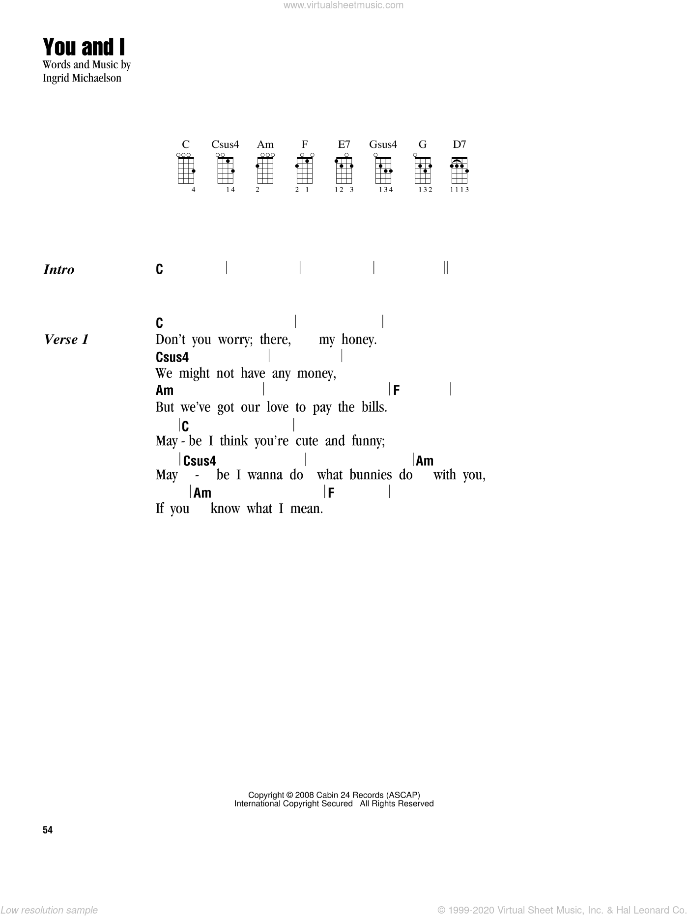 You And I sheet music for ukulele (chords) by Ingrid Michaelson, intermediate. Score Image Preview.