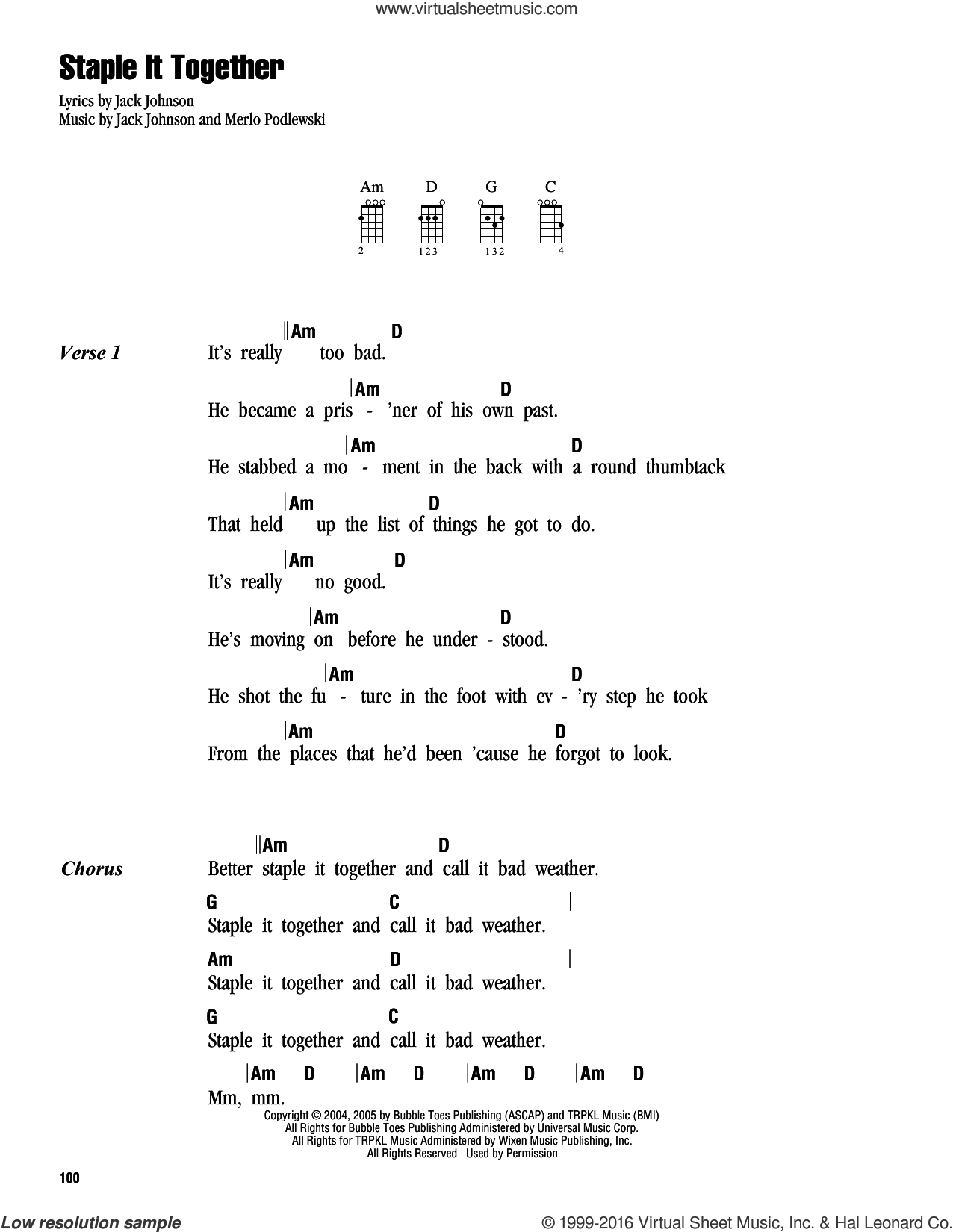 Staple It Together sheet music for ukulele (chords) by Jack Johnson, intermediate. Score Image Preview.