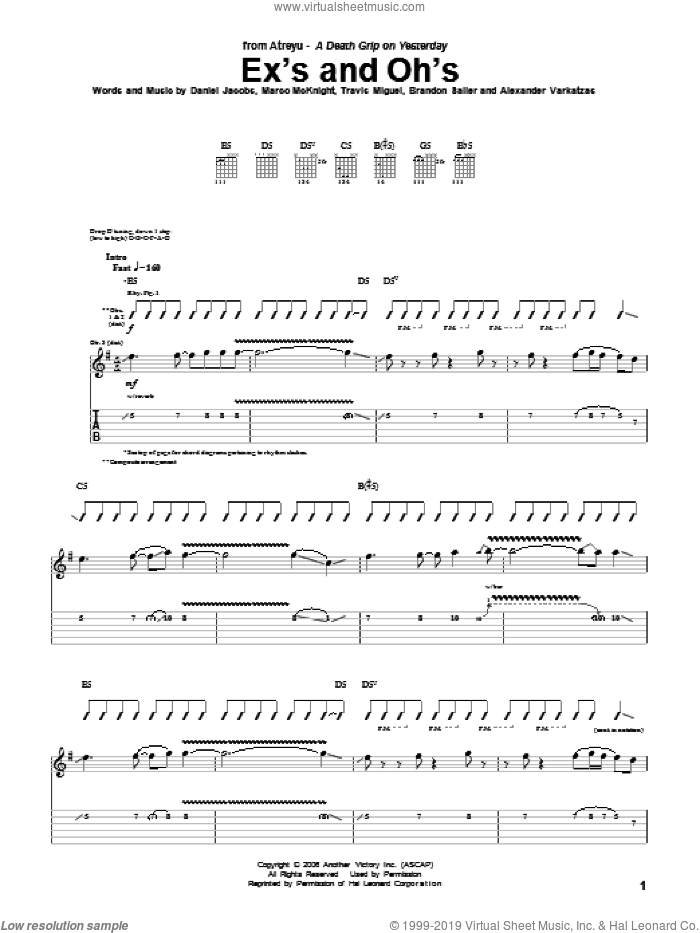 Ex's And Oh's sheet music for guitar (tablature) by Atreyu. Score Image Preview.