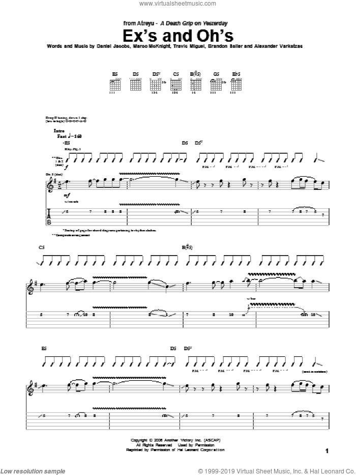 Ex's And Oh's sheet music for guitar (tablature) by Atreyu, Alexander Varkatzas, Brandon Saller, Daniel Jacobs, Marco McKnight and Travis Miguel, intermediate skill level