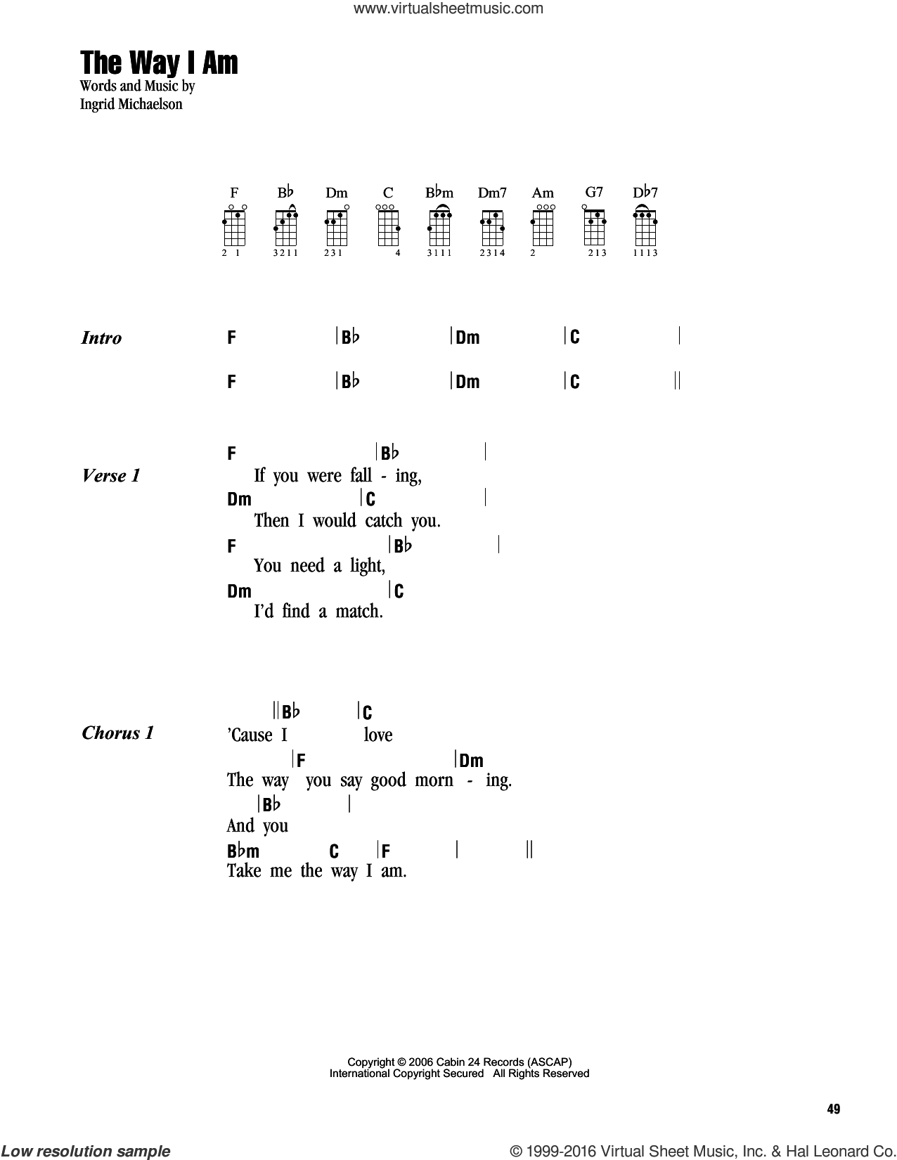 Michaelson The Way I Am Sheet Music For Ukulele Chords Pdf