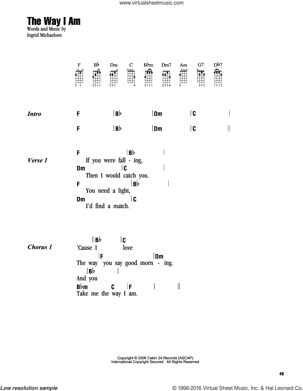 The Way I Am sheet music for ukulele (chords) by Ingrid Michaelson, wedding score, intermediate skill level