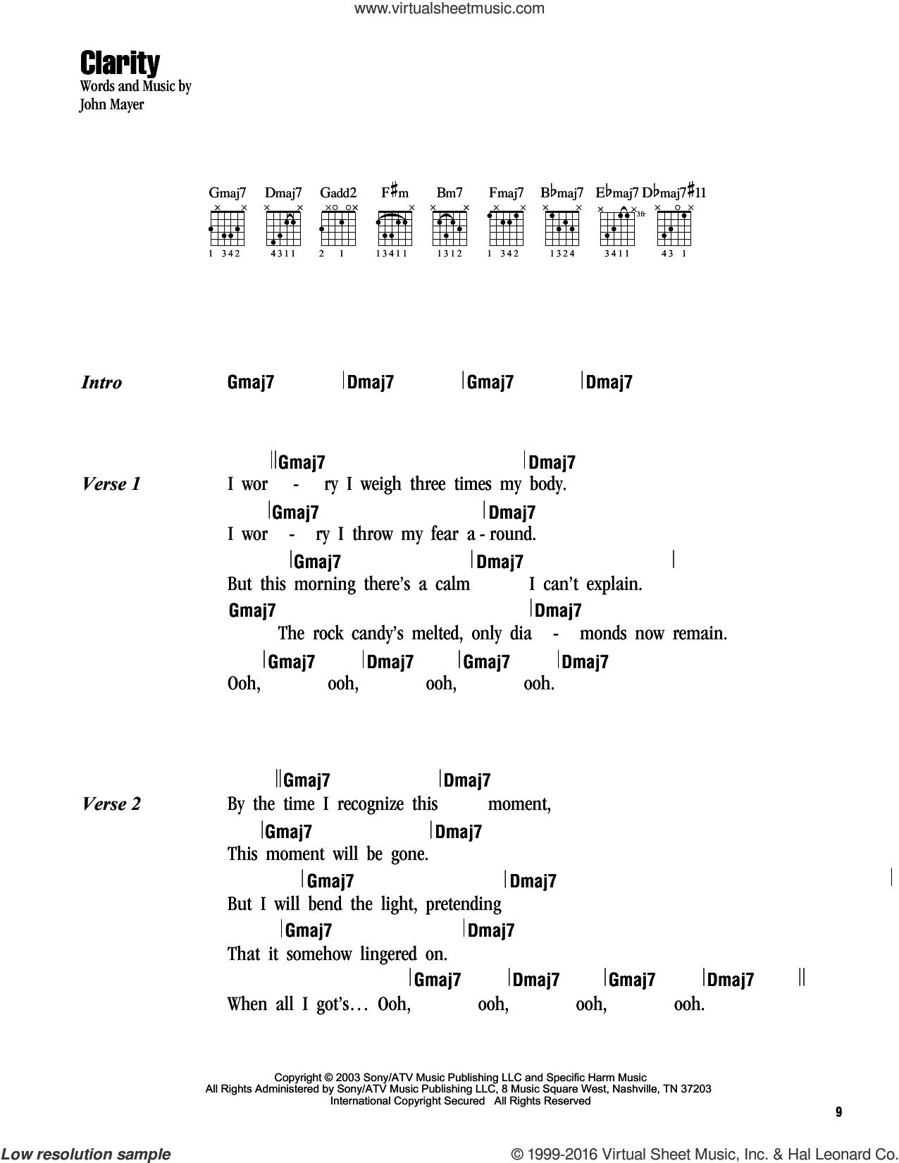 Clarity sheet music for guitar (chords) by John Mayer, intermediate skill level