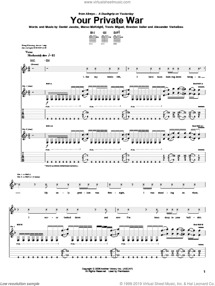 Your Private War sheet music for guitar (tablature) by Atreyu. Score Image Preview.