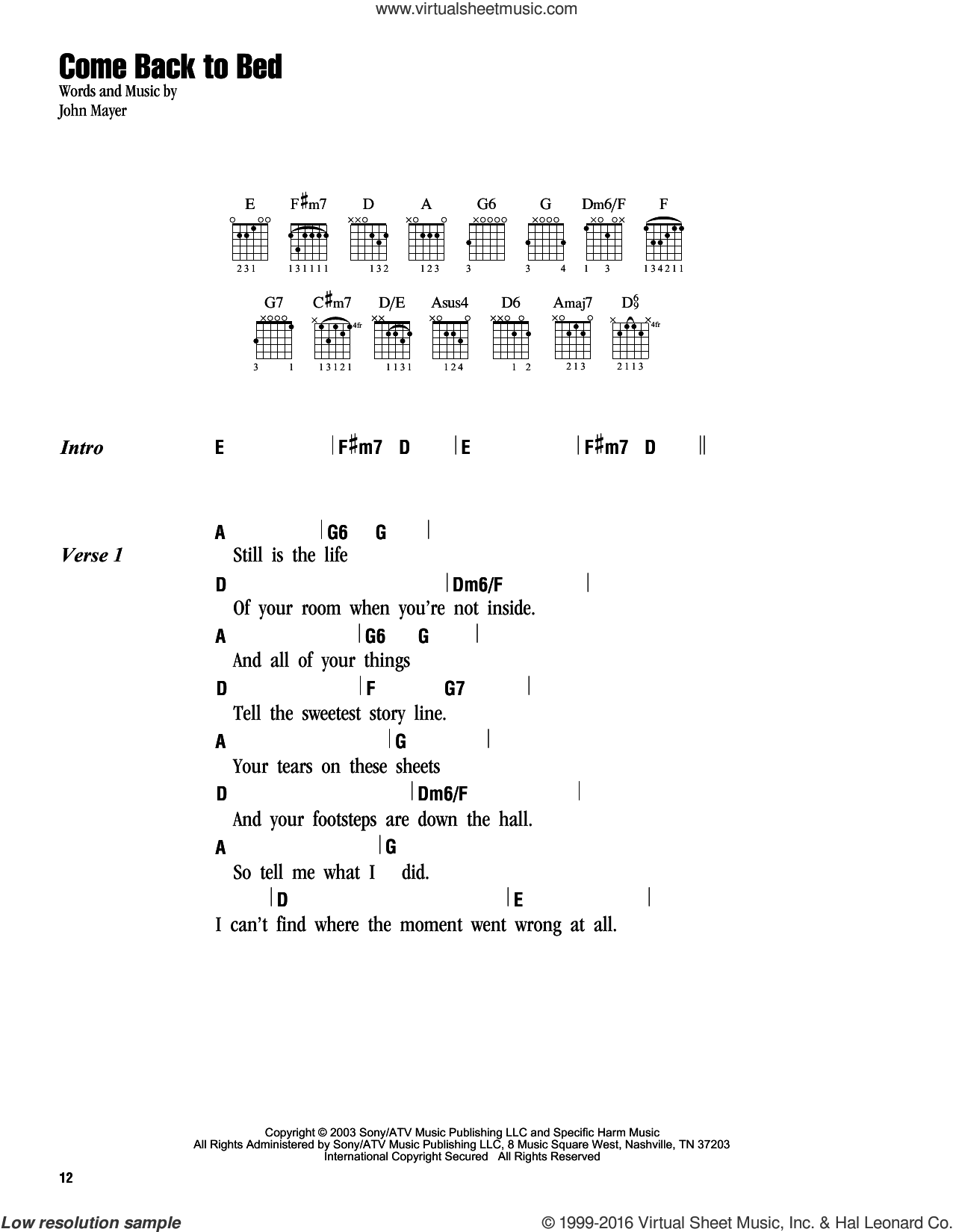 Come Back To Bed sheet music for guitar (chords) by John Mayer. Score Image Preview.