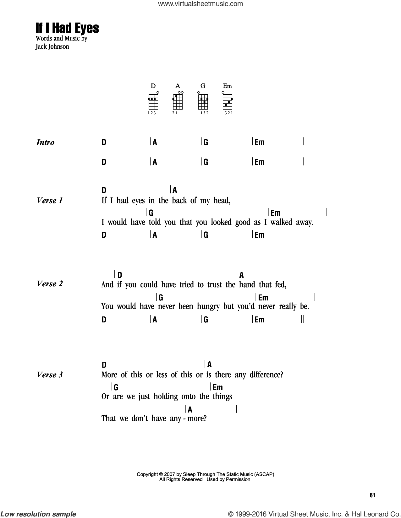 If I Had Eyes sheet music for ukulele (chords) by Jack Johnson, intermediate. Score Image Preview.