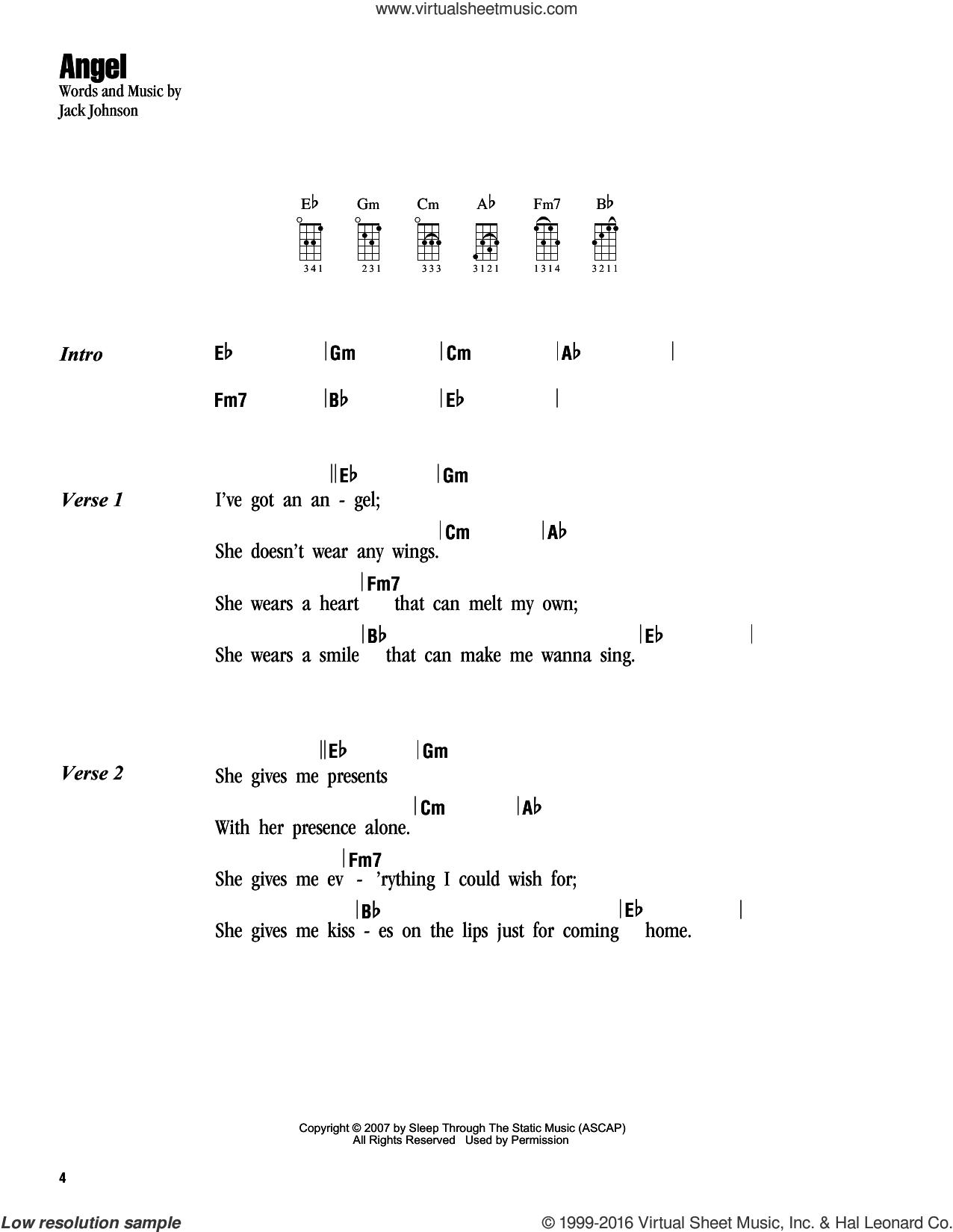 Johnson angel sheet music for ukulele chords angel sheet music for ukulele chords by jack johnson intermediate score image hexwebz Image collections
