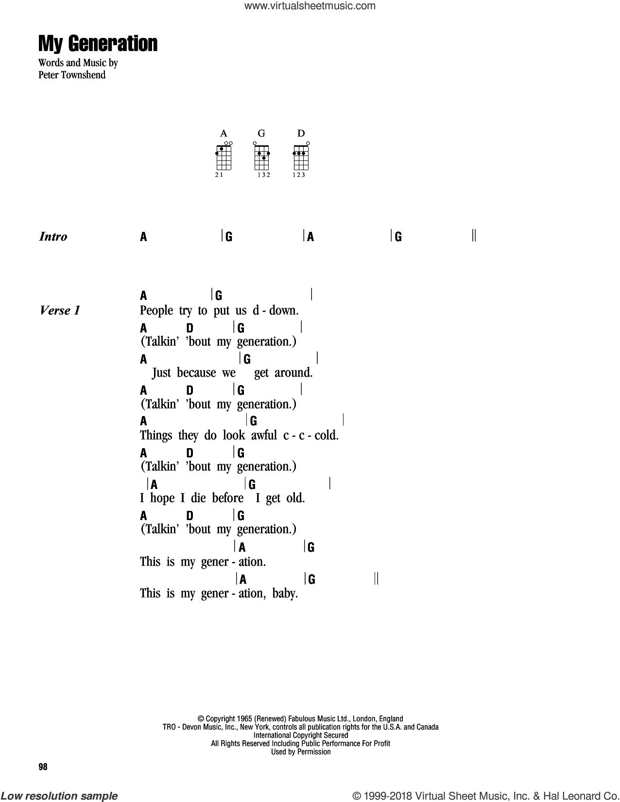 My Generation sheet music for ukulele (chords) by The Who and Pete Townshend, intermediate skill level