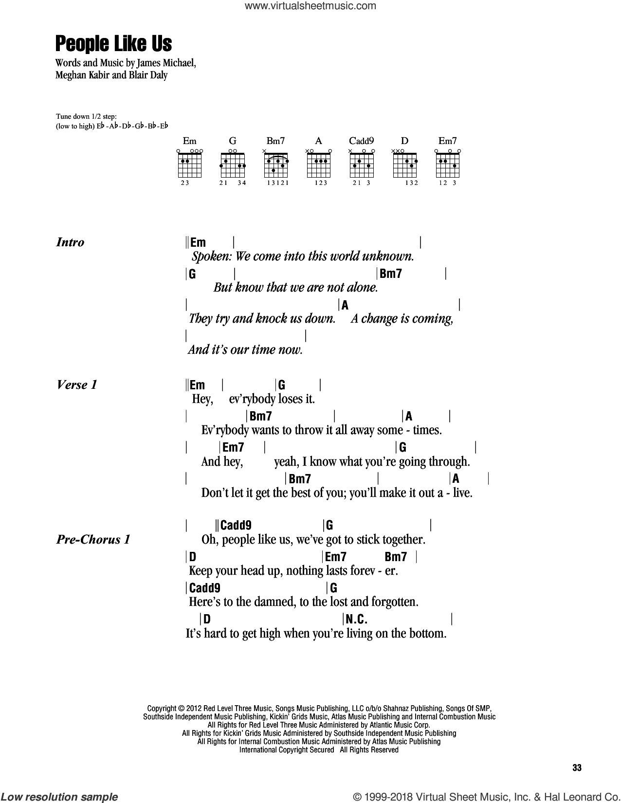 People Like Us sheet music for guitar (chords) by Kelly Clarkson, Blair Daly, James Michael and Meghan Kabir, intermediate skill level