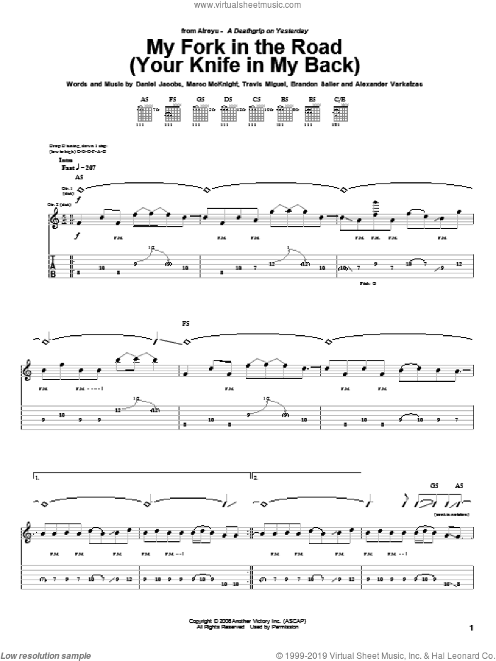 My Fork In The Road (Your Knife In My Back) sheet music for guitar (tablature) by Atreyu, Alexander Varkatzas, Brandon Saller, Daniel Jacobs, Marco McKnight and Travis Miguel, intermediate skill level