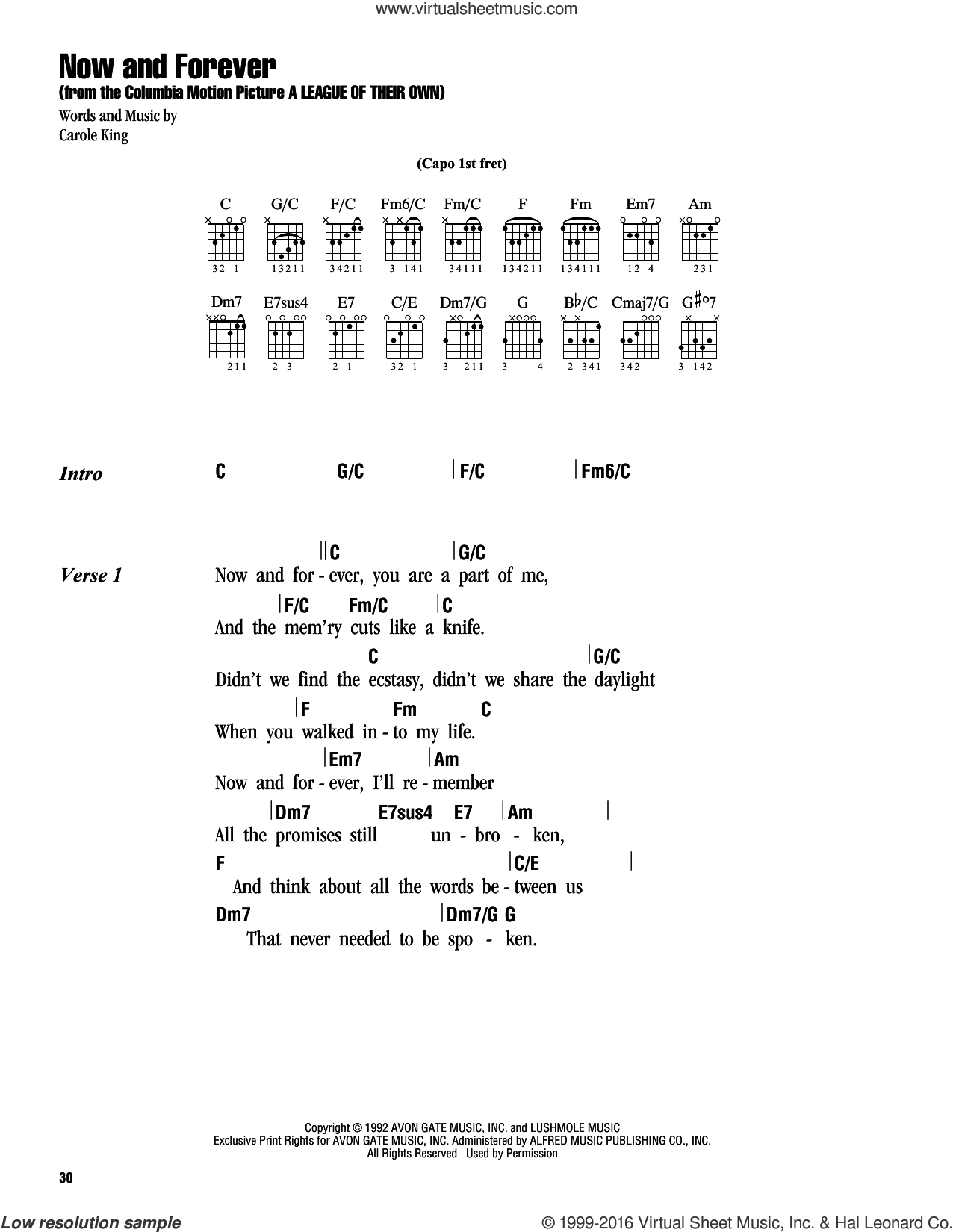 Now And Forever sheet music for guitar (chords) by Carole King, intermediate guitar (chords). Score Image Preview.