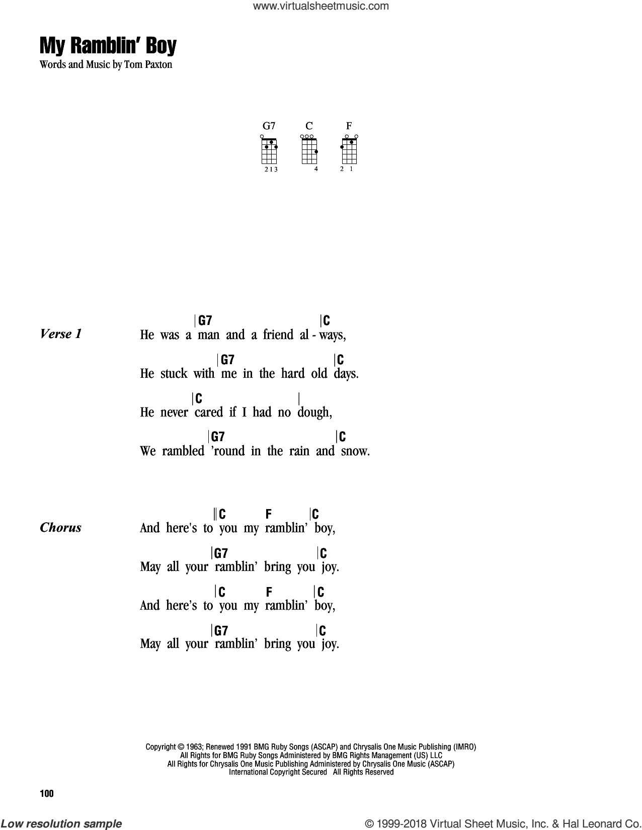 My Ramblin' Boy sheet music for ukulele (chords) by Tom Paxton. Score Image Preview.