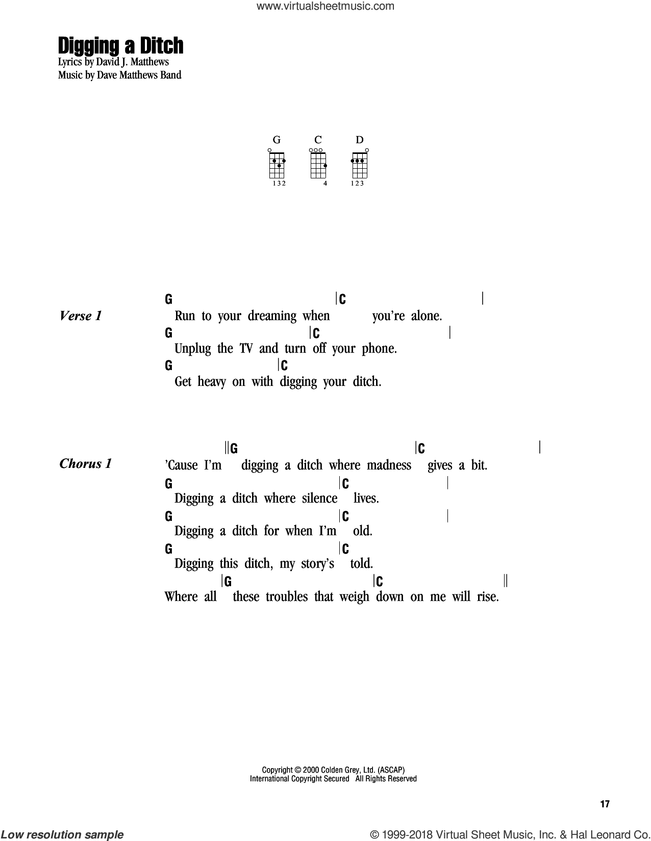 Digging A Ditch sheet music for ukulele (chords) by Dave Matthews Band, intermediate skill level