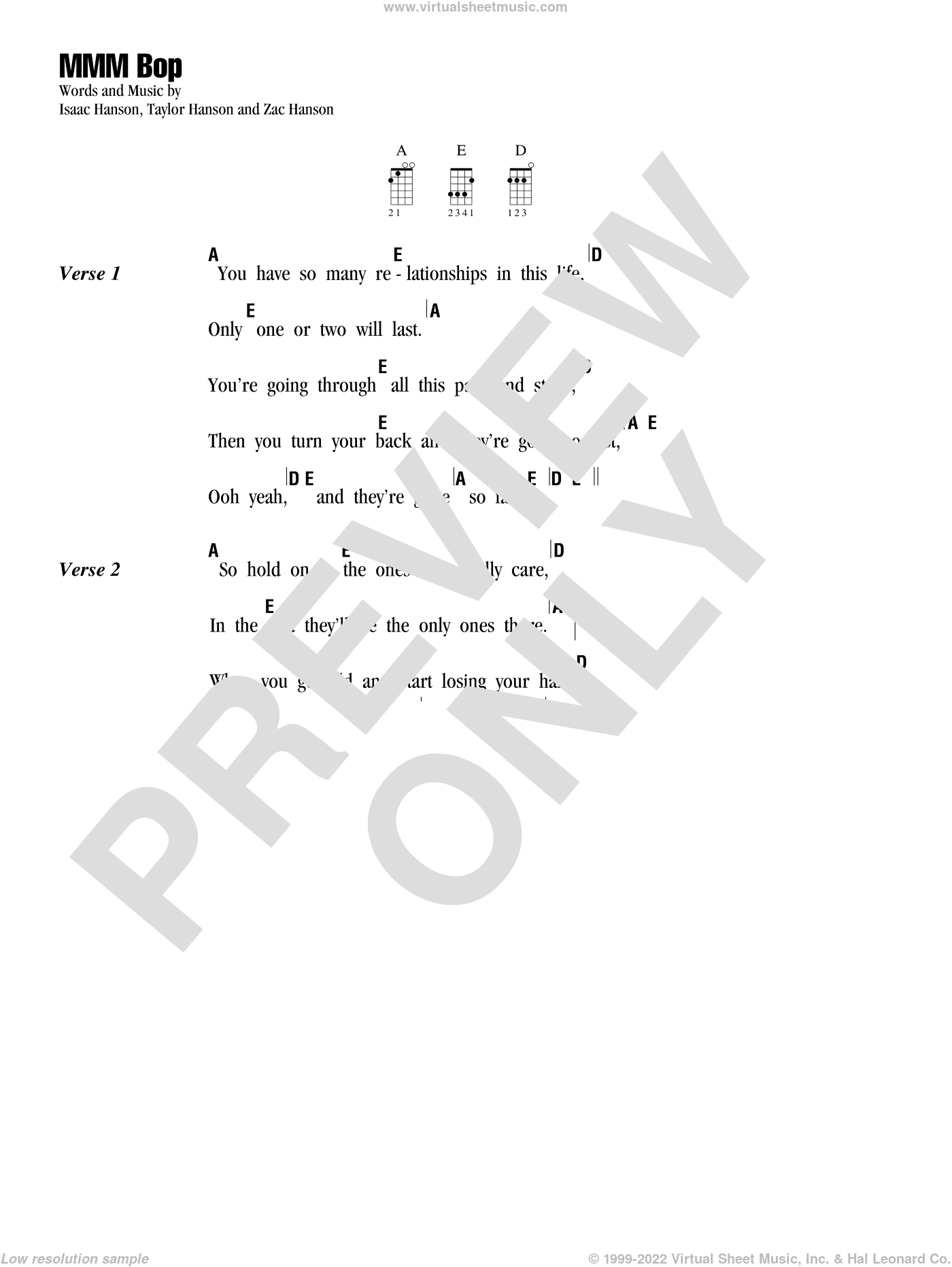MMM Bop sheet music for ukulele (chords) by isaac Hanson, Taylor Hanson and Zachary Hanson, intermediate skill level