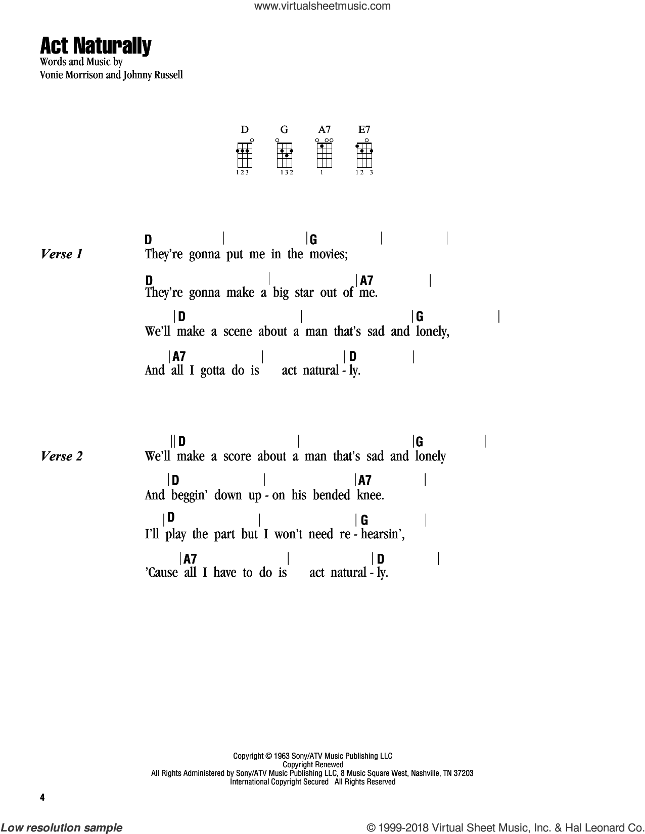 Act Naturally sheet music for ukulele (chords) by Buck Owens, The Beatles, Johnny Russell and Vonie Morrison, intermediate. Score Image Preview.