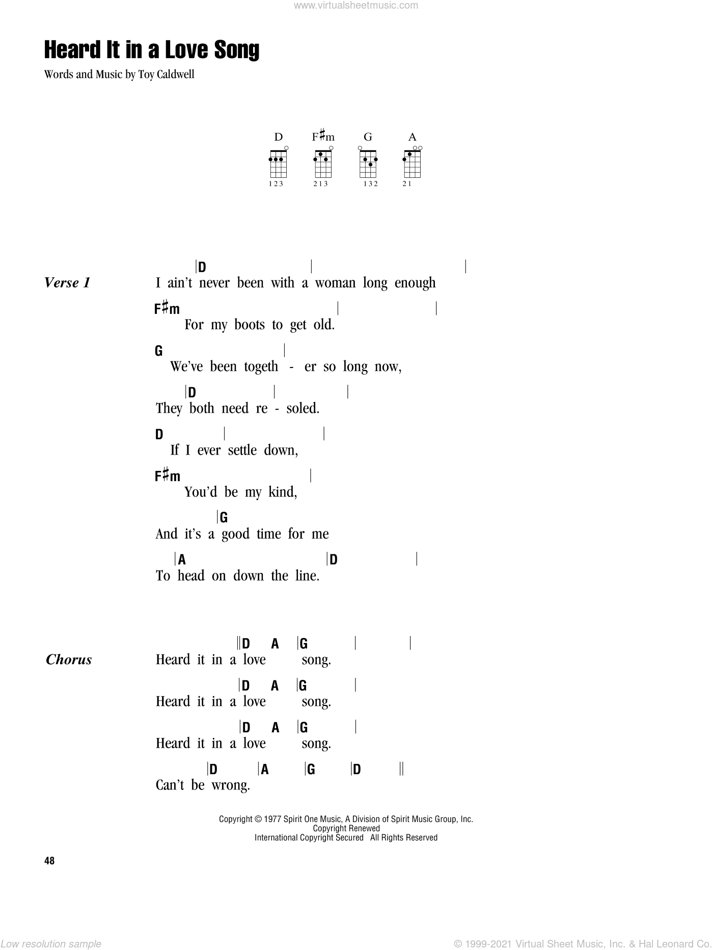 Heard It In A Love Song sheet music for ukulele (chords) by Marshall Tucker Band, intermediate. Score Image Preview.