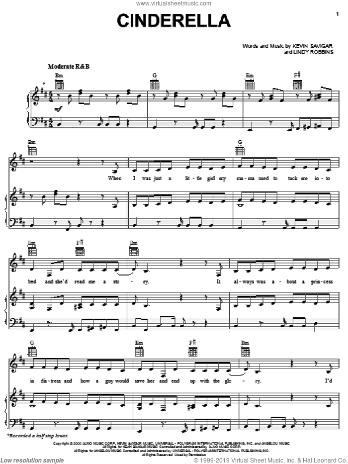 Cinderella sheet music for voice, piano or guitar by Lindy Robbins