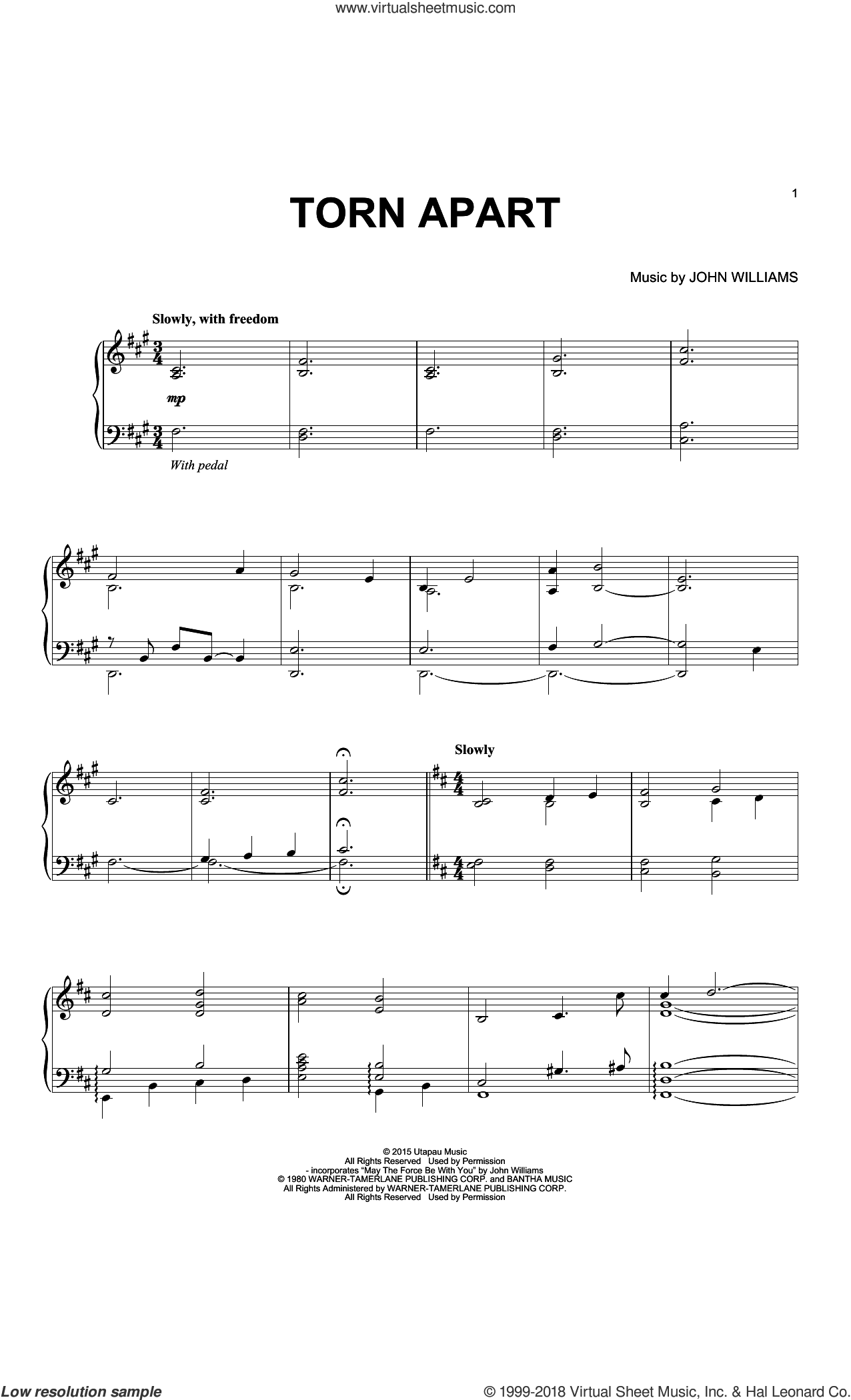 Torn Apart sheet music for piano solo by John Williams, intermediate skill level