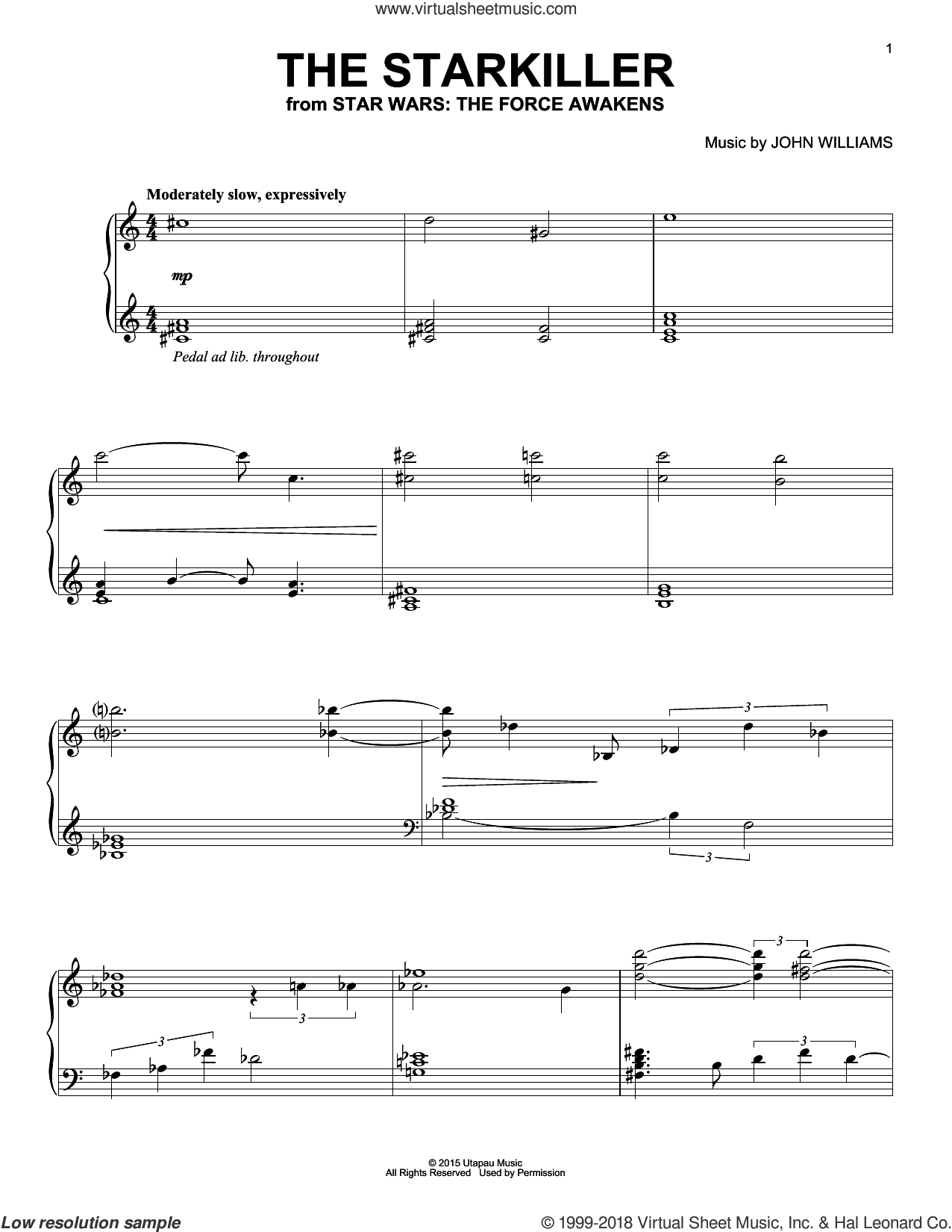 The Starkiller sheet music for piano solo by John Williams. Score Image Preview.