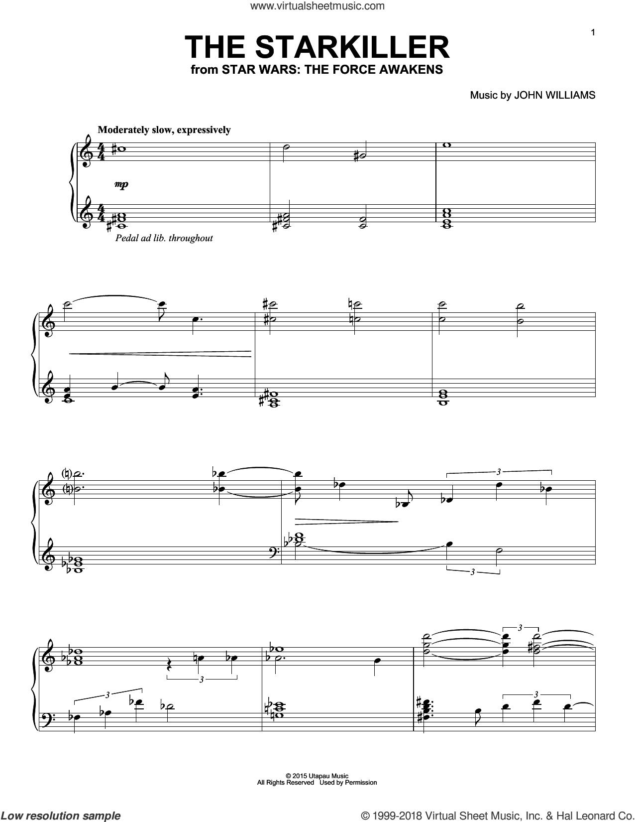 The Starkiller sheet music for piano solo by John Williams, intermediate skill level