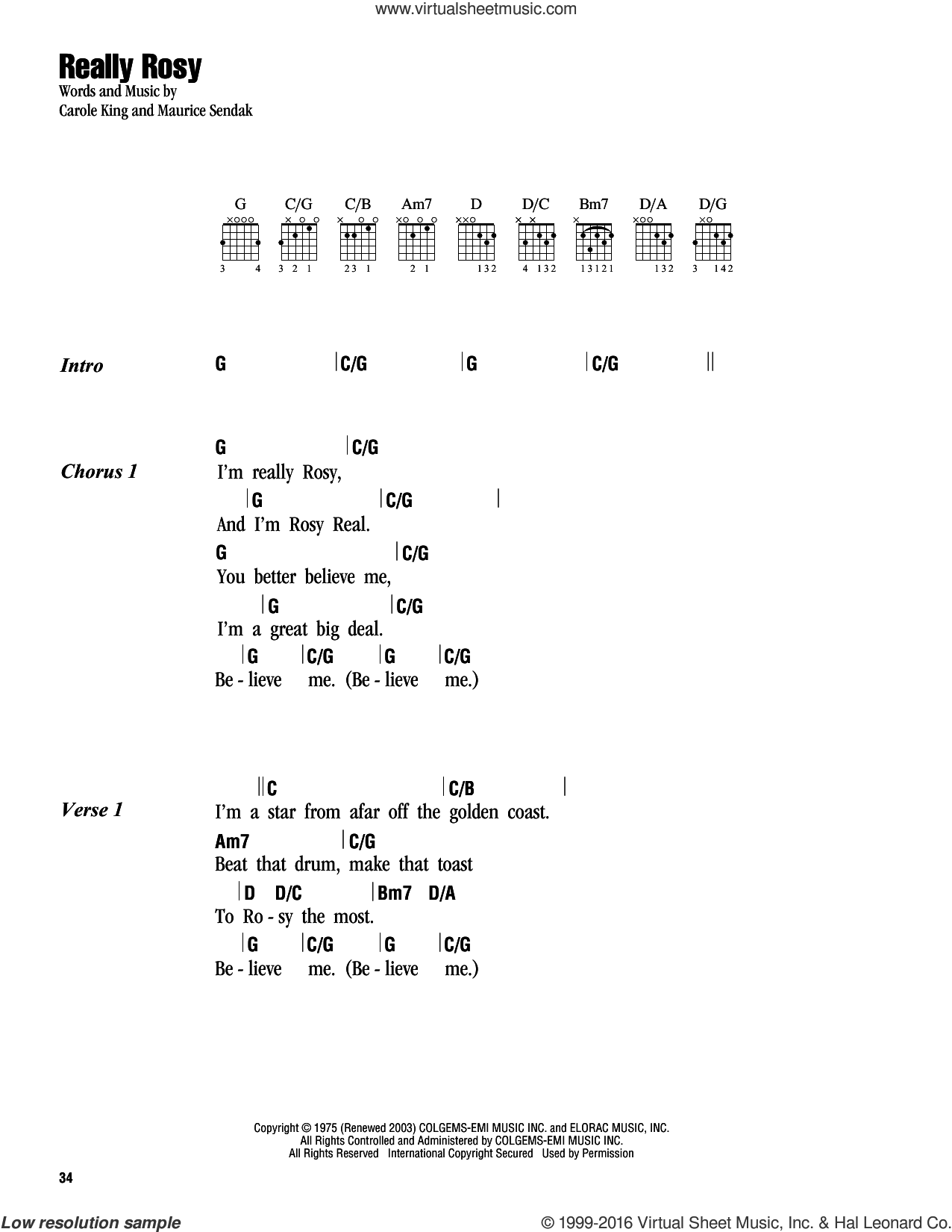 Really Rosy sheet music for guitar (chords) by Carole King and Maurice Sendak, intermediate skill level