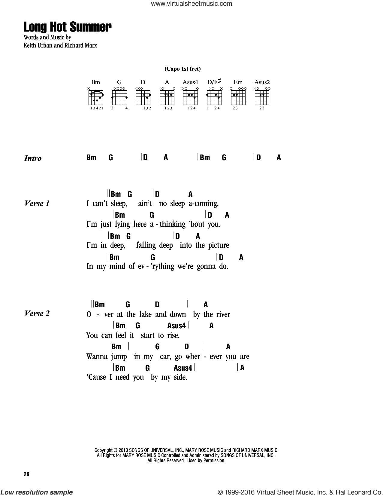 Long Hot Summer sheet music for guitar (chords) by Richard Marx and Keith Urban. Score Image Preview.