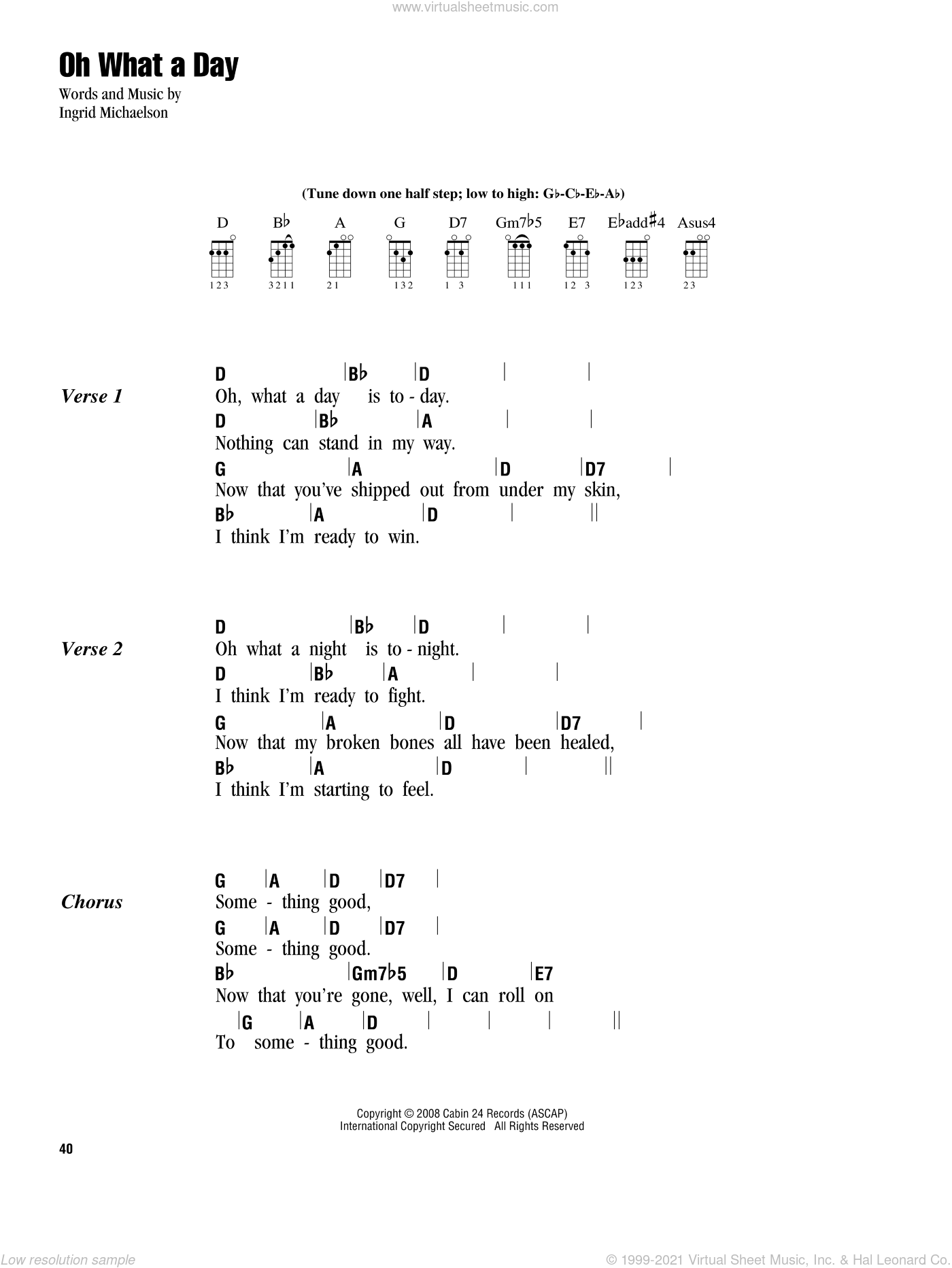 Michaelson - Oh What A Day sheet music for ukulele (chords) [PDF]