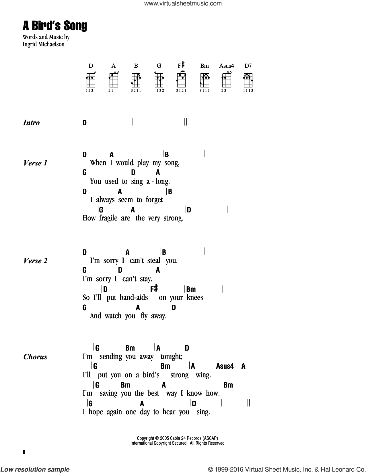 A Bird's Song sheet music for ukulele (chords) by Ingrid Michaelson, intermediate skill level