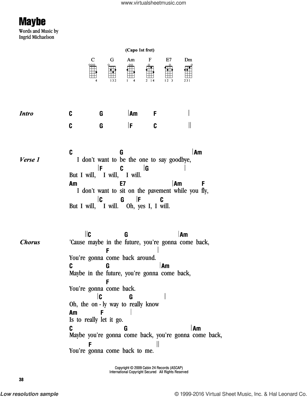 Maybe sheet music for ukulele (chords) by Ingrid Michaelson, intermediate ukulele (chords). Score Image Preview.