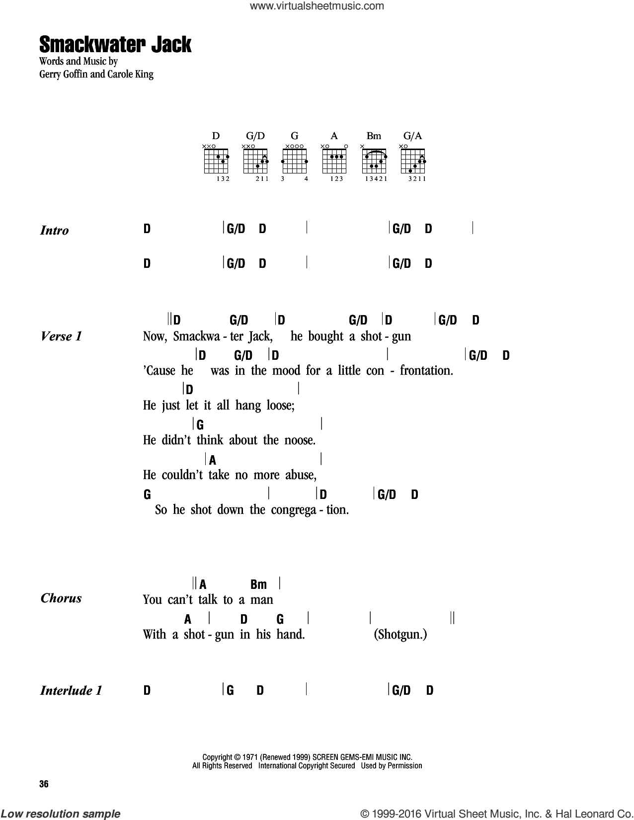 Smackwater Jack sheet music for guitar (chords) by Carole King and Gerry Goffin, intermediate