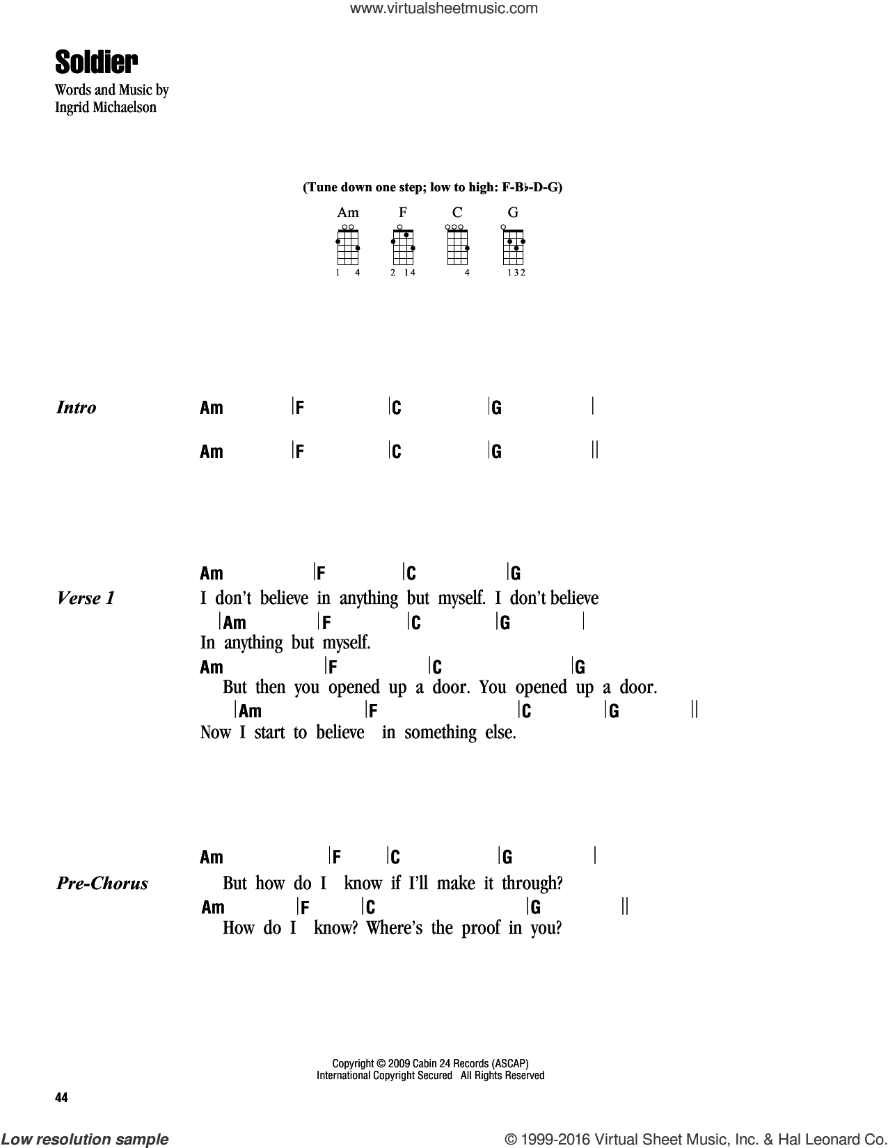 Soldier sheet music for ukulele (chords) by Ingrid Michaelson, intermediate skill level