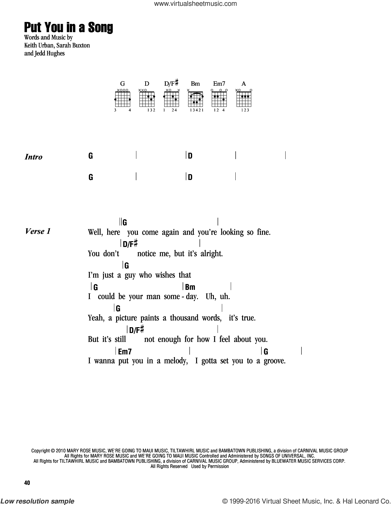 Put You In A Song sheet music for guitar (chords) by Keith Urban, Jedd Hughes and Sarah Buxton, intermediate skill level