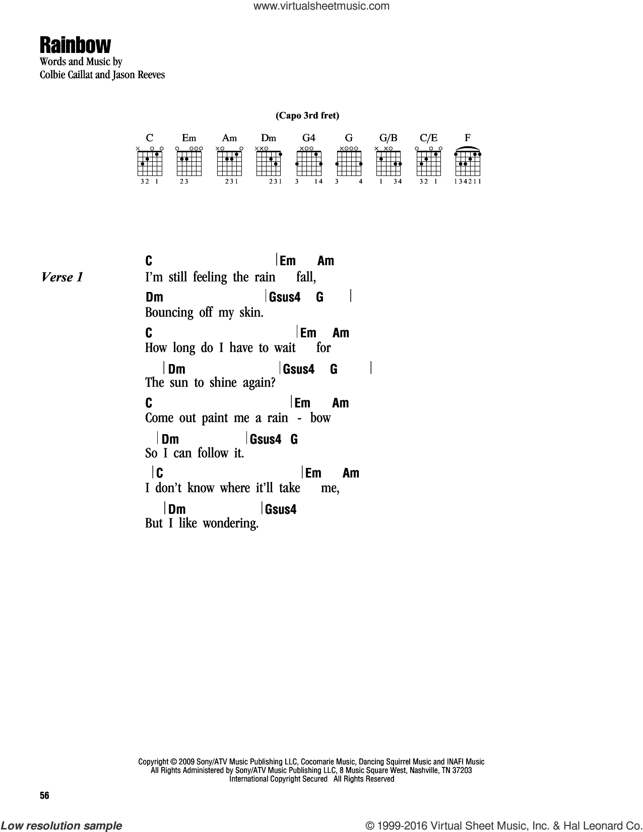 Rainbow sheet music for guitar (chords) by Colbie Caillat and Jason Reeves, intermediate