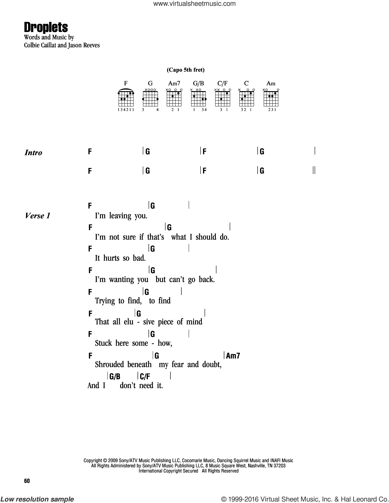 Droplets sheet music for guitar (chords) by Colbie Caillat and Jason Reeves, intermediate skill level