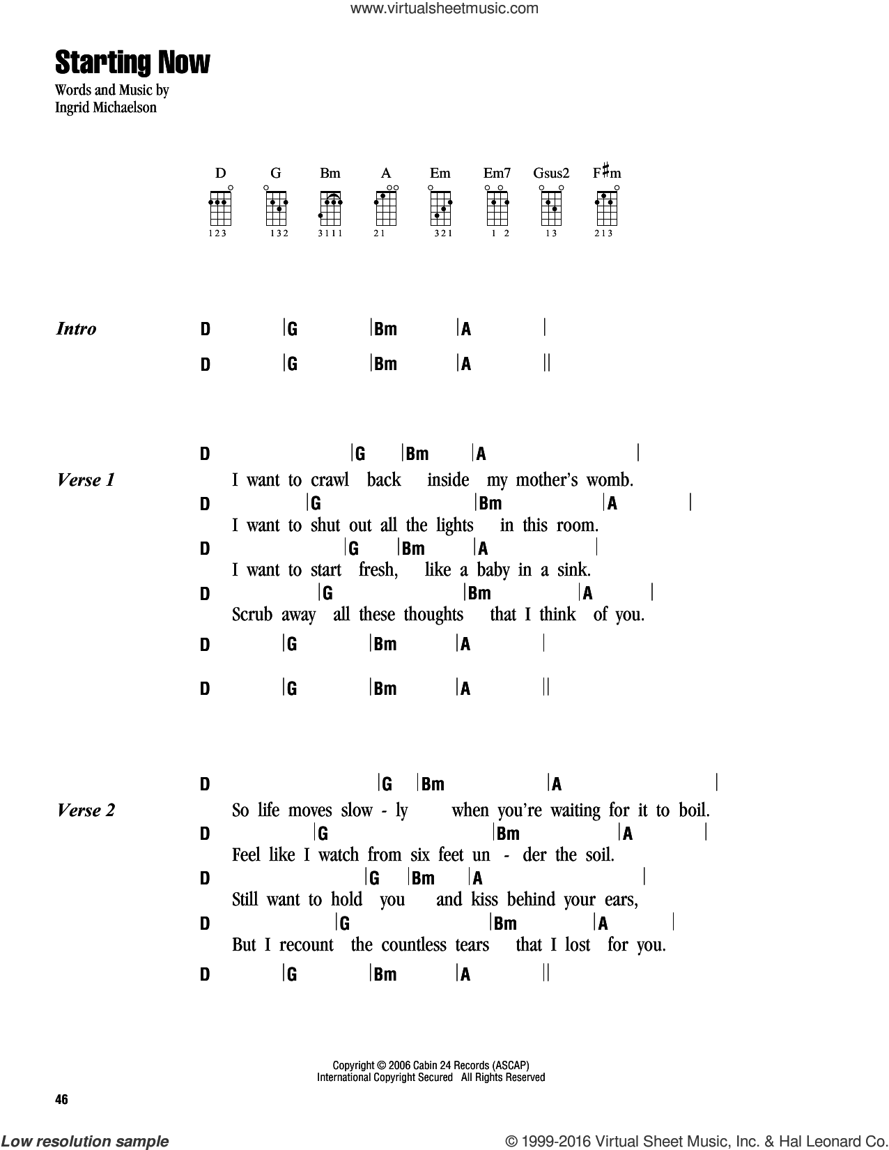 Starting Now sheet music for ukulele (chords) by Ingrid Michaelson, intermediate ukulele (chords). Score Image Preview.