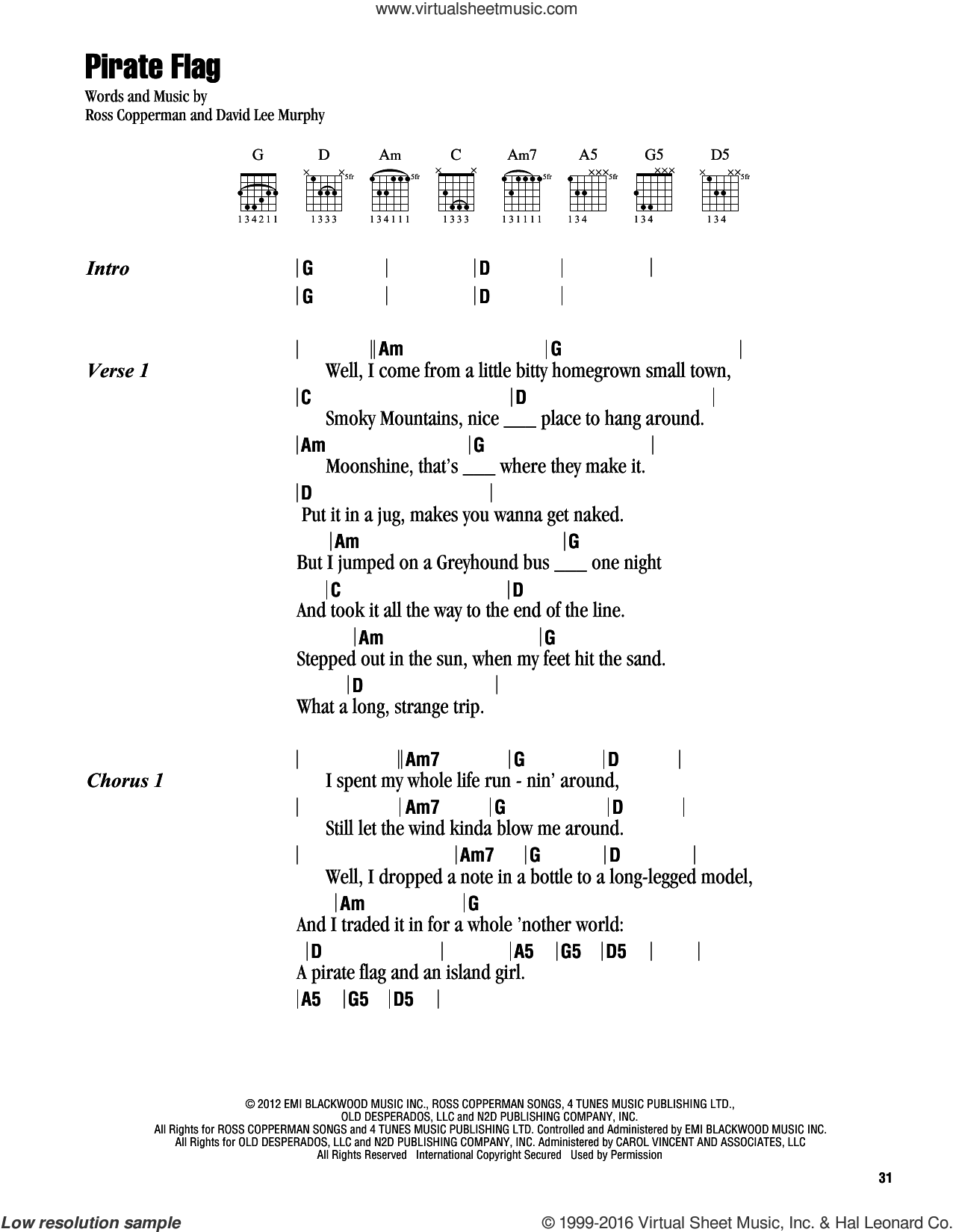 Pirate Flag sheet music for guitar (chords) by Kenny Chesney and David Lee Murphy. Score Image Preview.