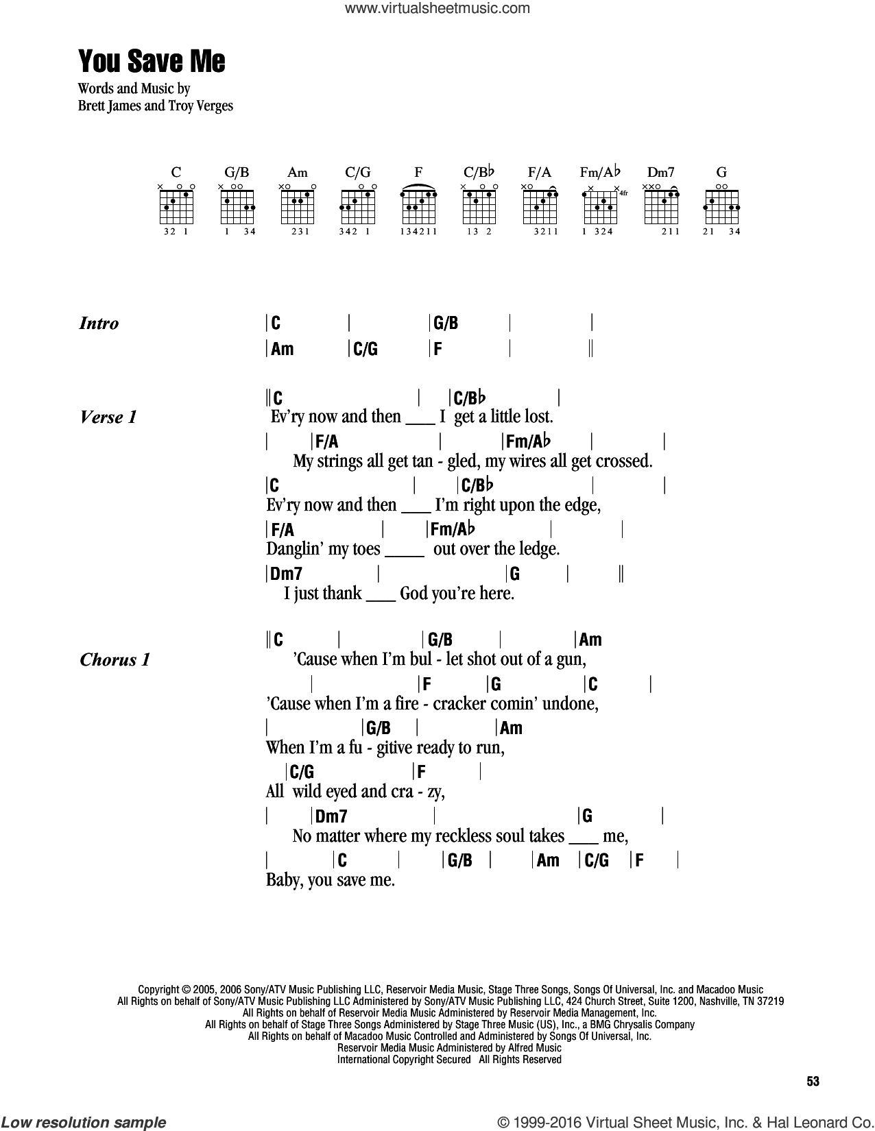 You Save Me sheet music for guitar (chords) by Troy Verges, Kenny Chesney and Brett James. Score Image Preview.