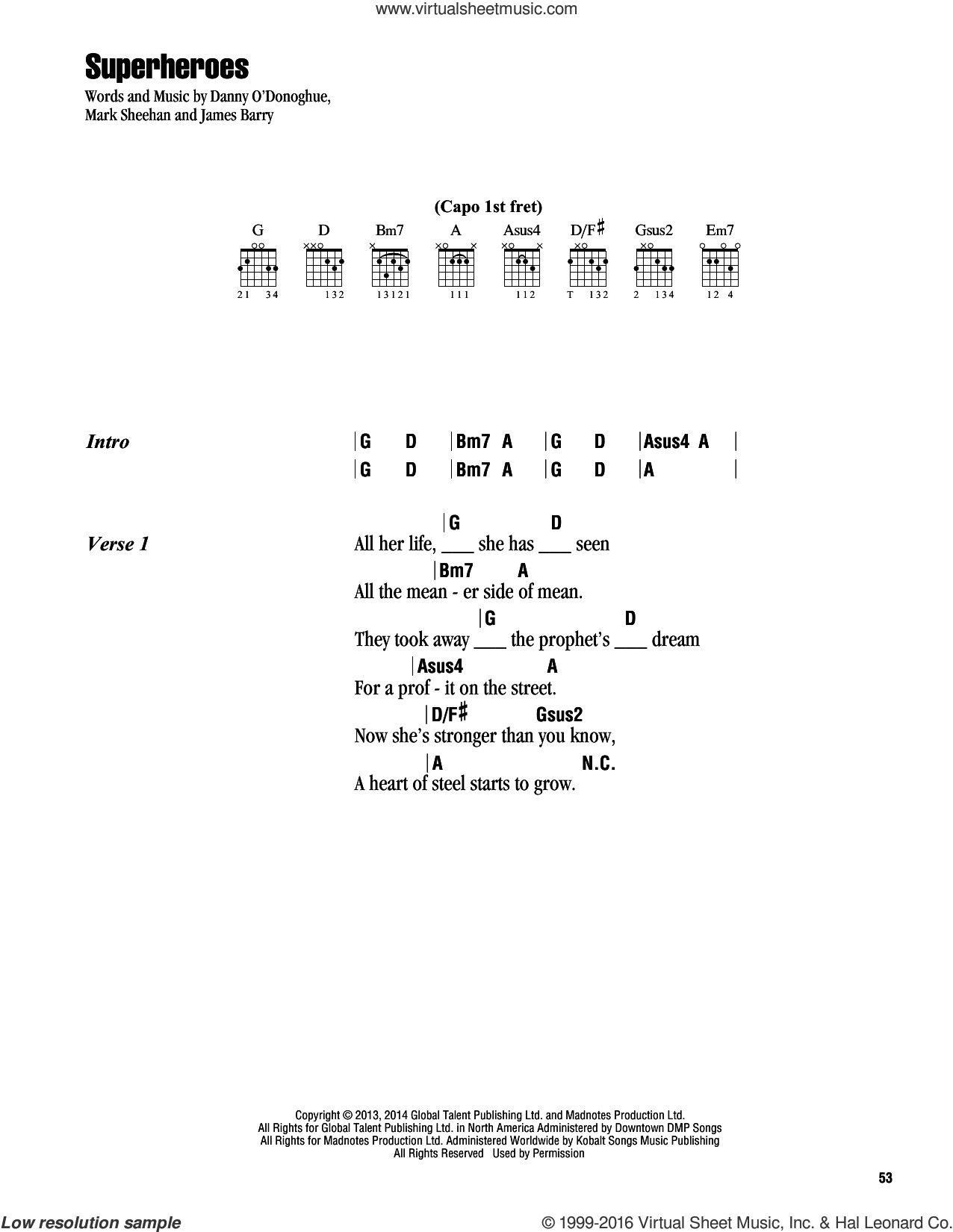 Superheroes sheet music for guitar (chords) by The Script, intermediate guitar (chords). Score Image Preview.