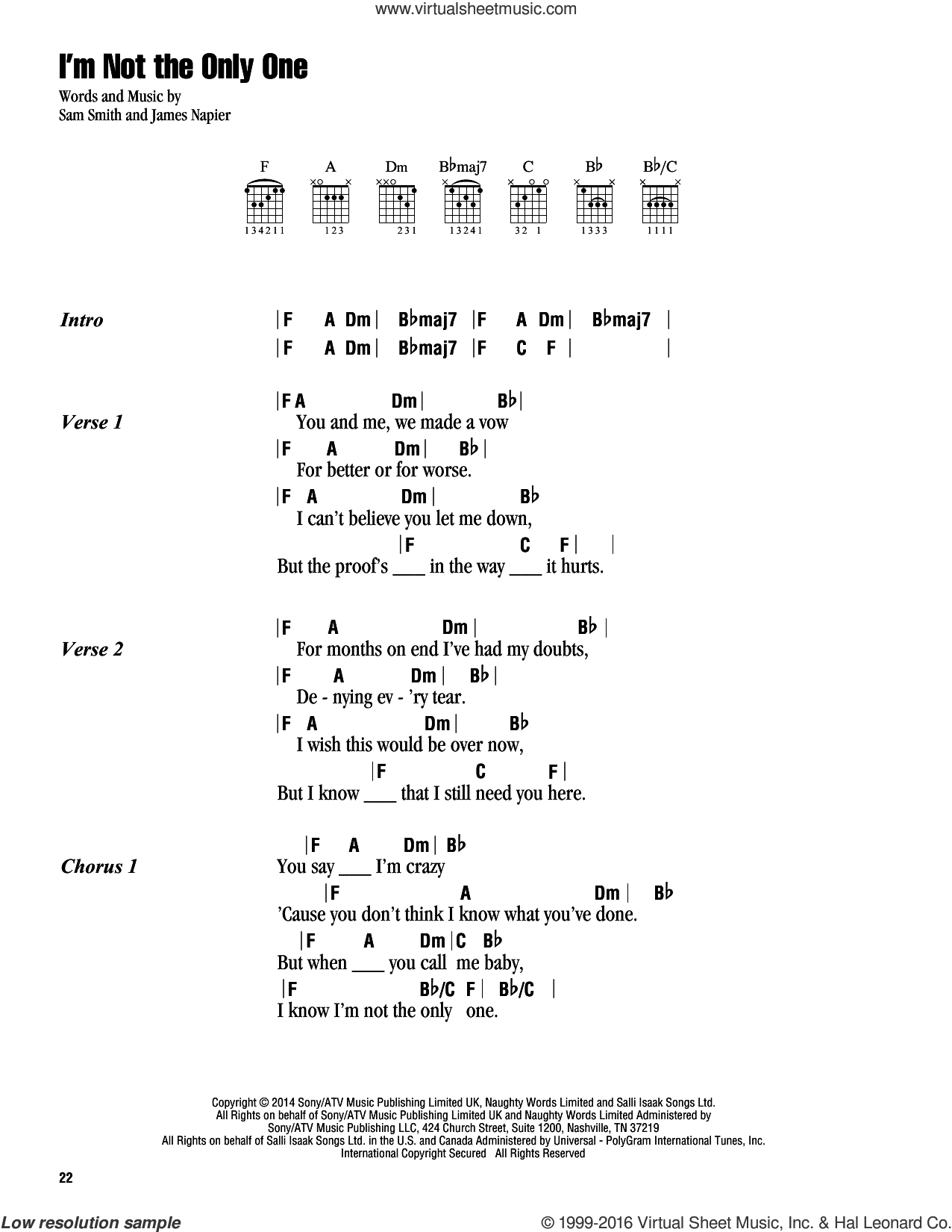 I'm Not The Only One sheet music for guitar (chords) by Sam Smith, intermediate guitar (chords). Score Image Preview.