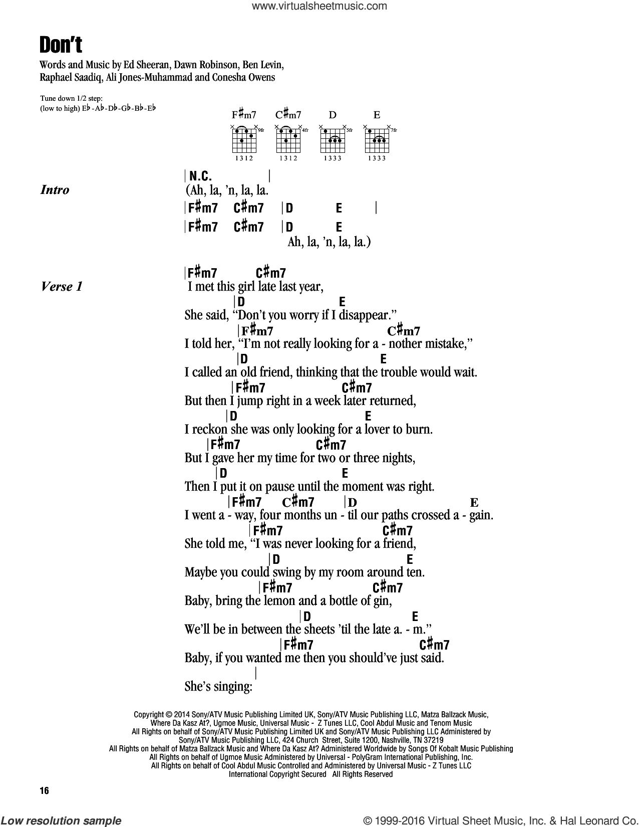 Don't sheet music for guitar (chords) by Ed Sheeran, Ali Jones-Muhammad, Benjamin Levin, Conesha Owens, Dawn Robinson and Raphael Saadiq, intermediate skill level