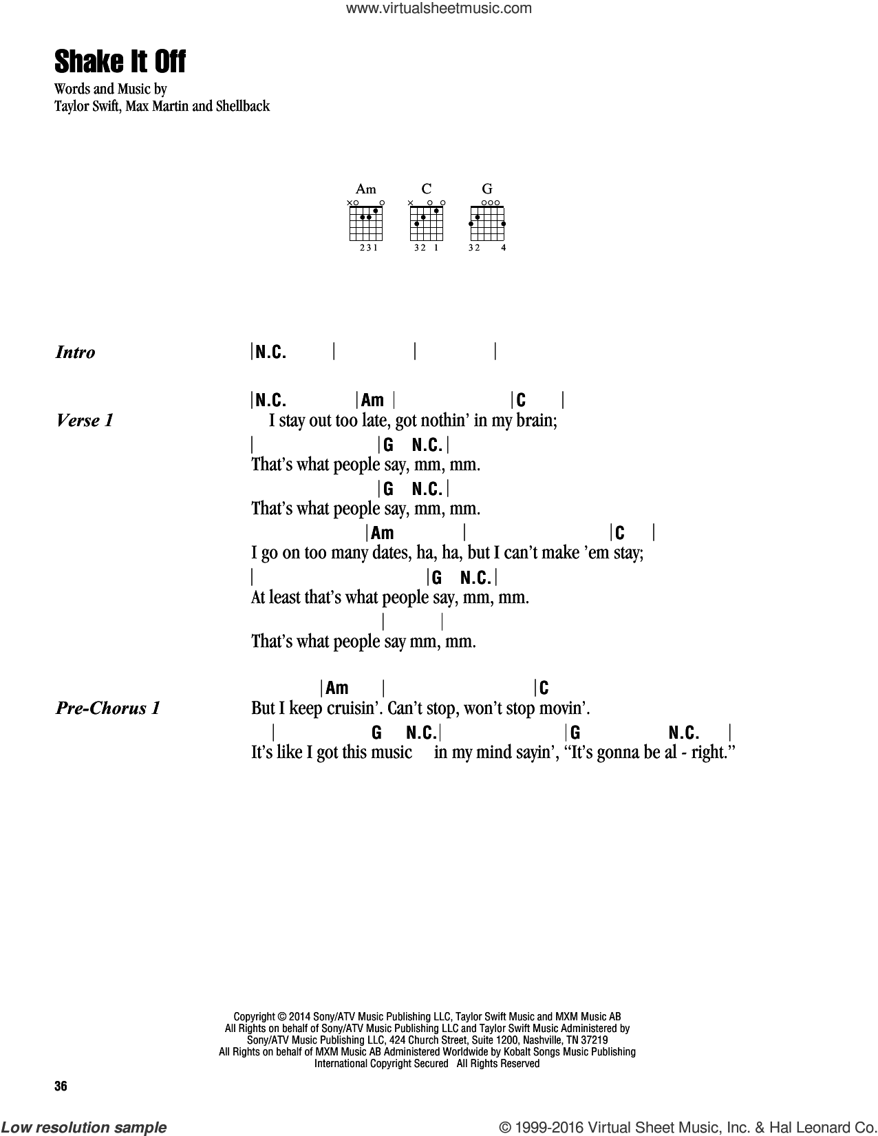 Shake It Off sheet music for guitar (chords) by Taylor Swift, Johan Schuster, Max Martin and Shellback, intermediate skill level