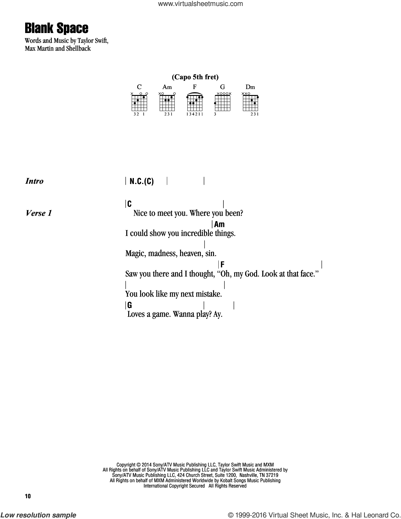 Swift - Blank Space sheet music for guitar (chords)