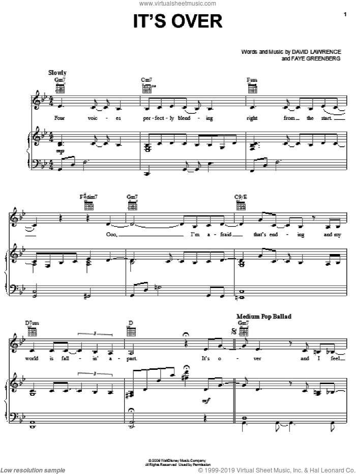 It's Over sheet music for voice, piano or guitar by Faye Greenberg