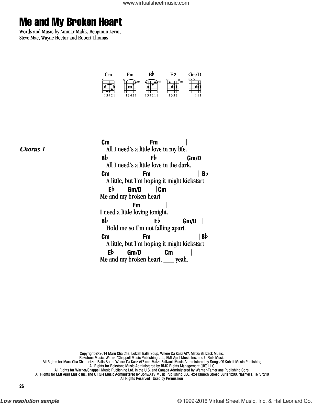 Me And My Broken Heart sheet music for guitar (chords) by Rixton, Ammar Malik, Benjamin Levin, Steve Mac and Wayne Hector, intermediate guitar (chords). Score Image Preview.