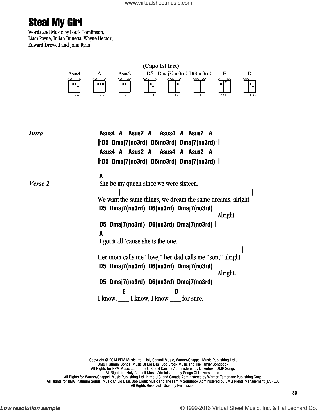 Direction Steal My Girl Sheet Music For Guitar Chords Pdf